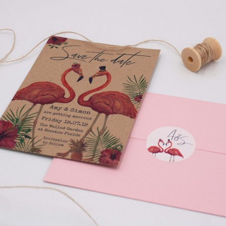 Ellie-and-liv-bespoke-wedding-stationery-bespoke-save-the-date-flamingo-design