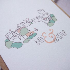Ellie-and-Liv-Bespoke-wedding-stationery-Castle-invite-detail