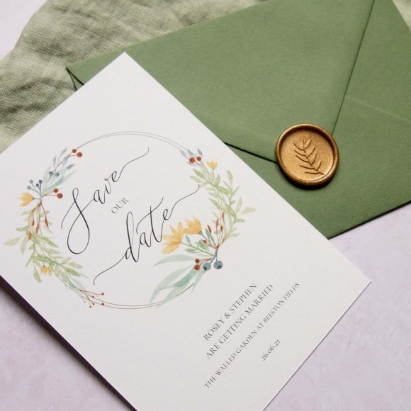 File name: Ellie-and-Liv-Floral-Meadow-wedding-stationery-save-the-date-and-envelope