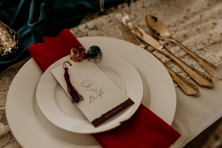 Ellie and Liv Mini Plum Wedding Menu with tassel