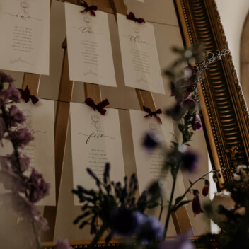 Ellie and Liv Table Plan Vintage gold frame Newstead Abbey