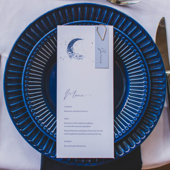 Ellie and Liv on the day celestial wedding -menu