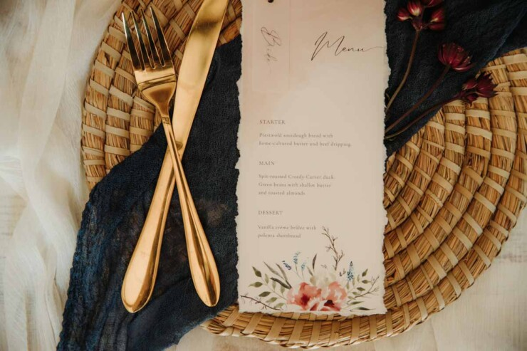 Ellie and Liv watercolour wedding menu with hand torn edges